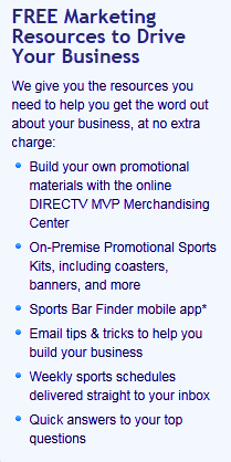 DIRECTV MVP Marketing Program - Marketing Resources for your Bar or Restaurant from DIRECTV