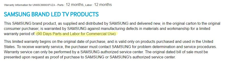 Samsung Warranty UN65C8000XFXZA Consumer vs commercial grade Hotel TV