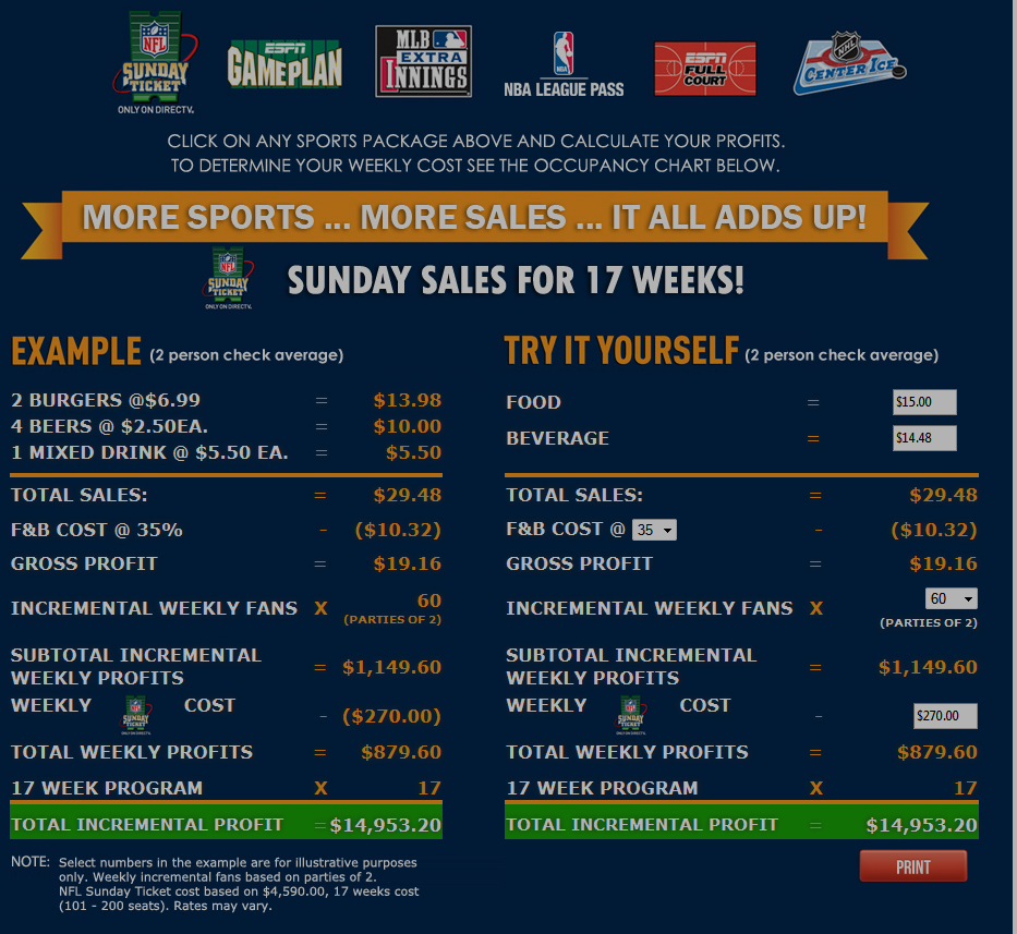NFL Sunday Ticket Profit Calculator Example