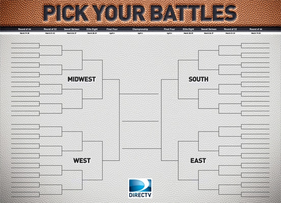 NCAA Tournament March Madness Bracket from DIRECTV MVP Marketing