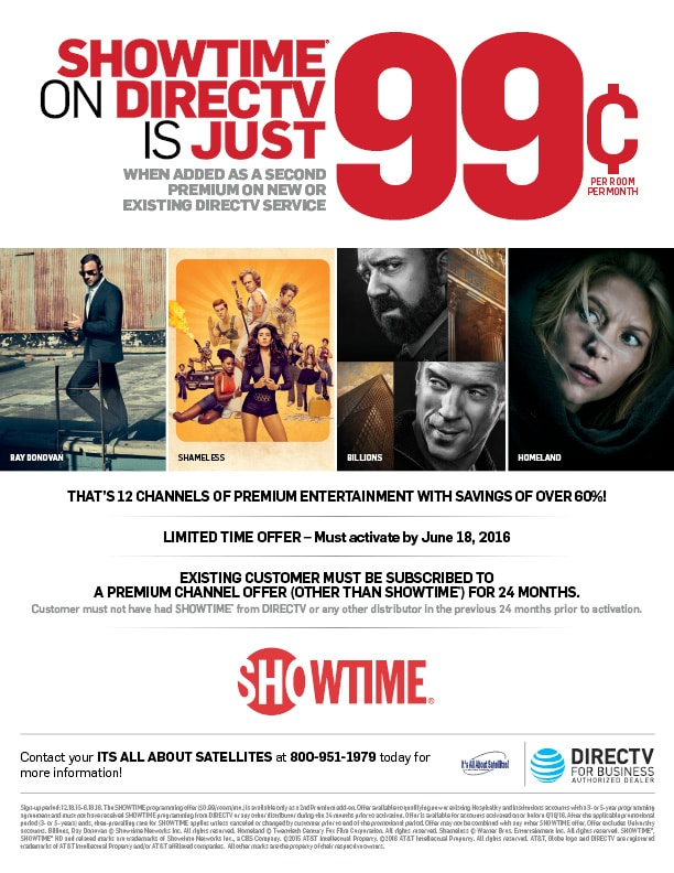 Showtime on DIRECTV for Hotels 99 cents