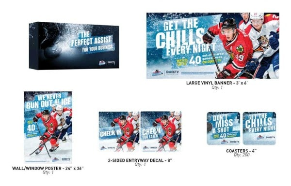 NHL CENTER ICE Marketing Kit for Bars and Restaurants from DIRECTV MVP Marketing NO WORDS