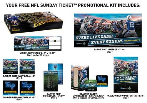 NFL SUNDAY TICKET promotional kit - DIRECTVMVP.com - Its All About Satellites Authorized DIRECTV Dealer - DIRECTV for Business - DIRECTV for Bars - DIRECTV for Restaurants