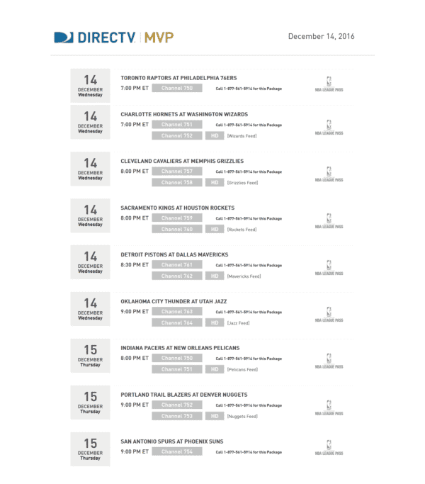 DIRECTV MVP Marketing program sports schedules NBA League Pass 121416
