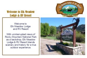 Elk Meadows Lodge and RV REsort COM2000 Welcome Screen - Its All About Satellites TV for RV parks and Campgrounds