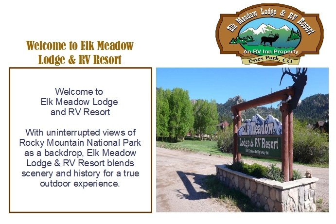 Elk Meadows Lodge and RV Resort COM2000 Welcome Screen - Its All About Satellites - TV for RV Parks and Campgrounds - DIRECTV Hospitality Solutions Authorized Dealer