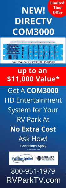 TV for RV Parks an Campgrounds - DIRECTV for RV Parks vertical bannner FREE COM3000 Eqpmt Offer