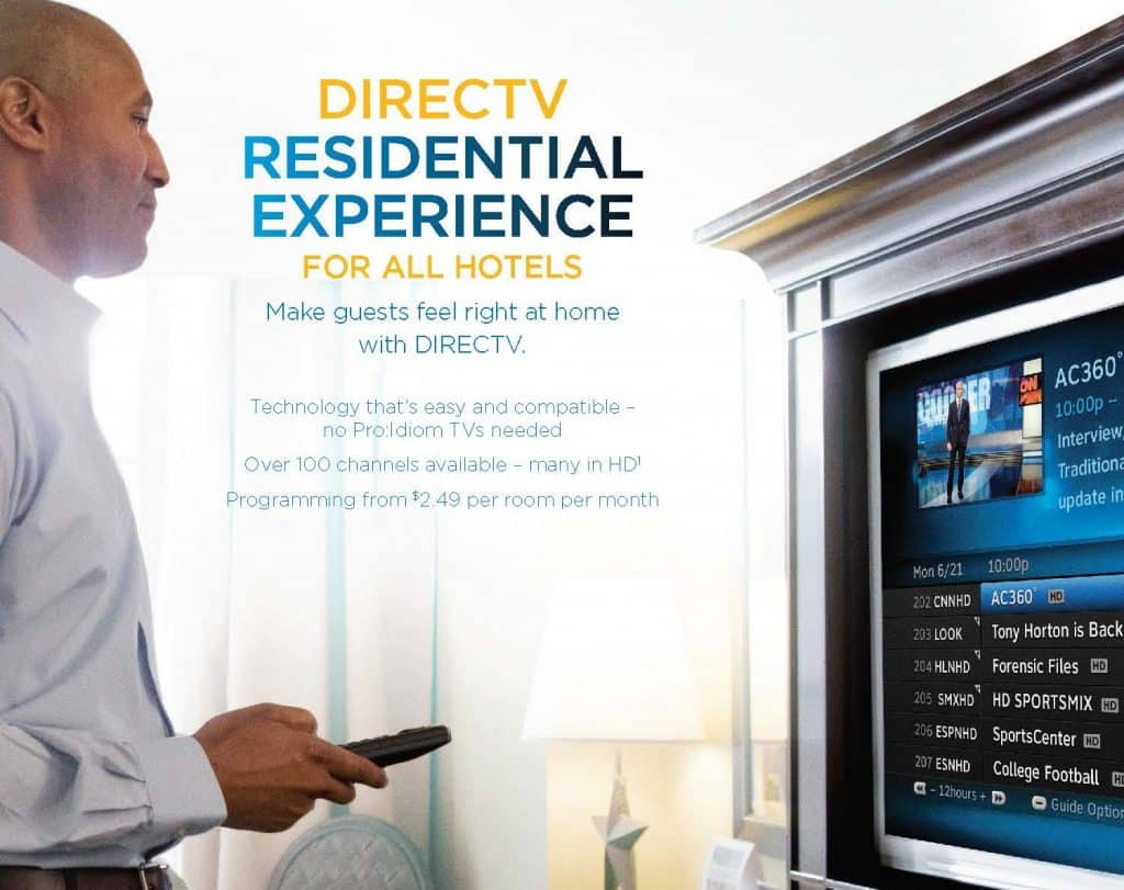 TV for Hotels - DIRECTV Residential Experience DRE FP Hotels Q3 2018 - from Its All About Satellites Authorized DIRECTV Hospitality Dealer cropped