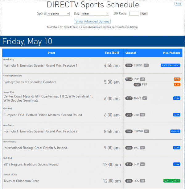 DIRECTV Sports Sports Schedule example from May 10 2019
