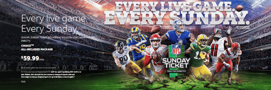 DIRECTV Residential Offer q4 2019 featuring NFL Sunday Ticket