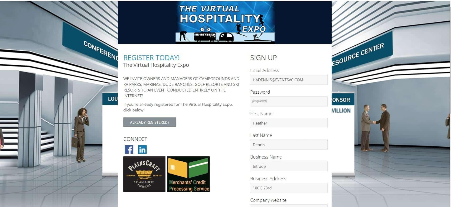 Virtual Hospitality Expo Lobby 2020