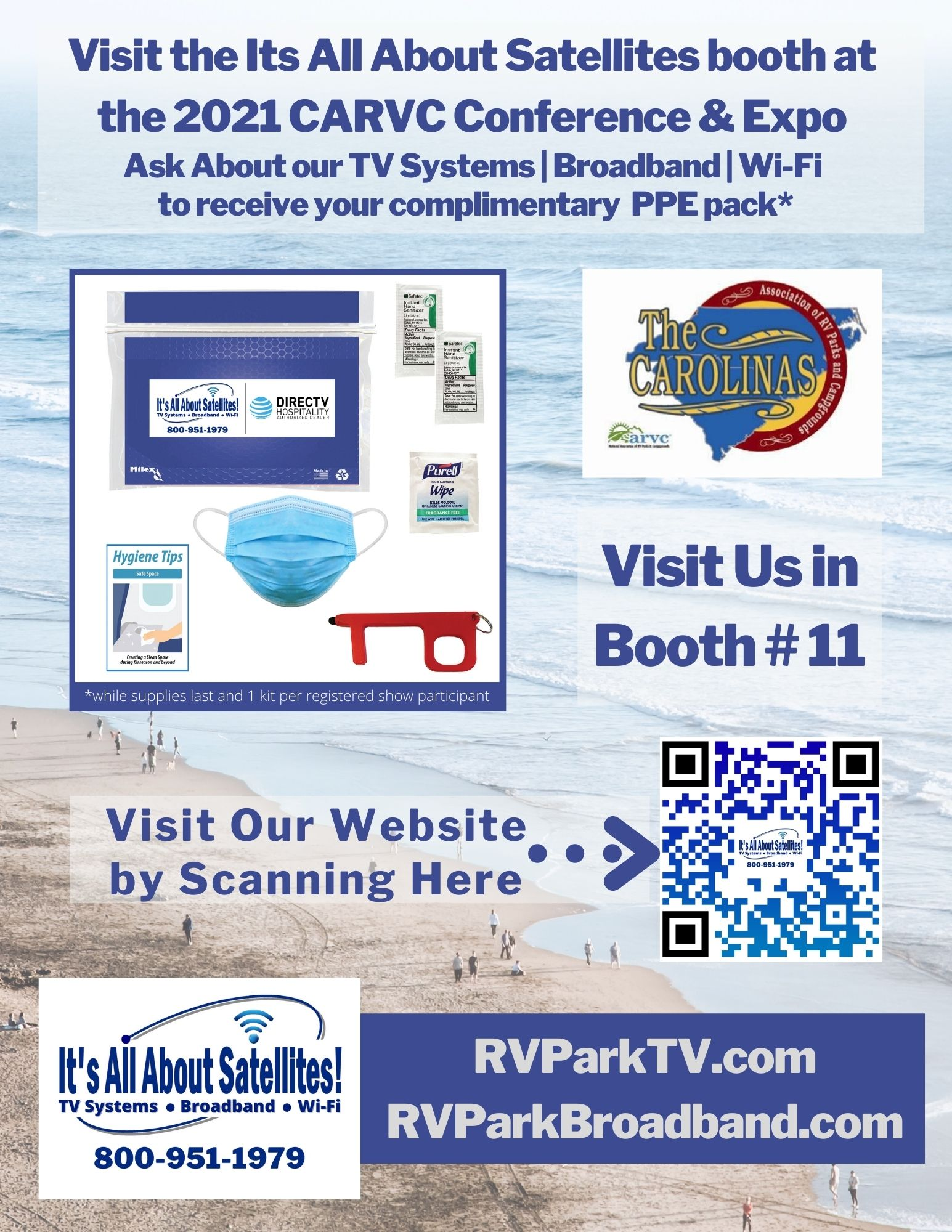 Visit Its All About Satellites in Booth 11 at the 2021 CARV Conference and Expo and Receive a Complimentary PPE Pack