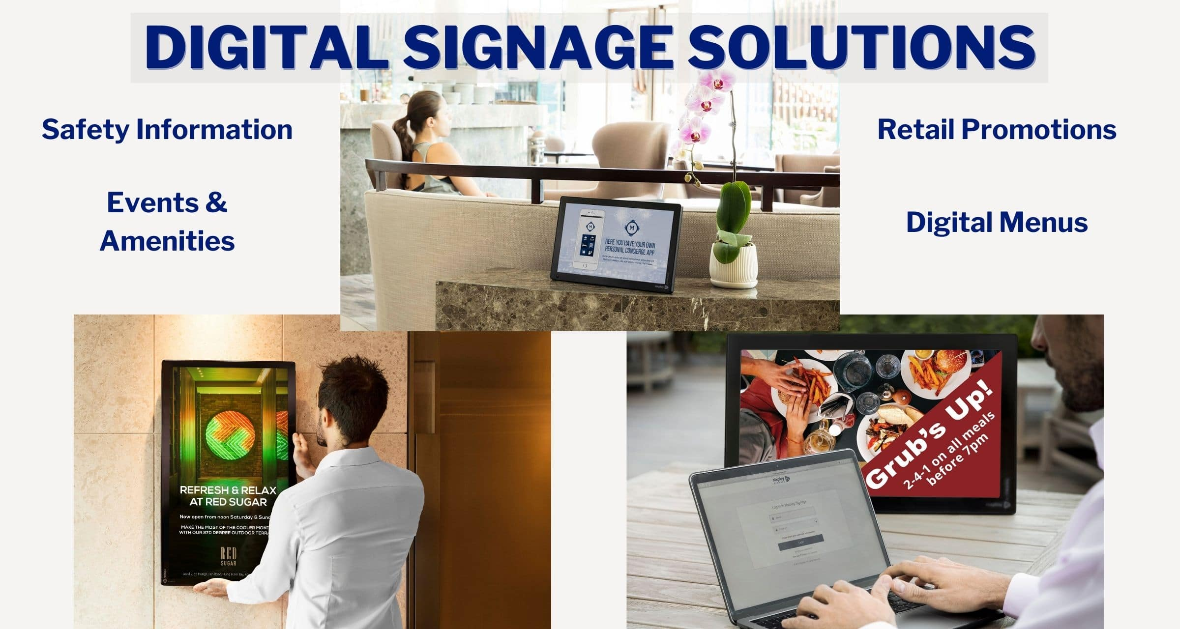 Nixplay Digital Signage Solutions for Safety Information, Events & Amenities, Retail Promotions, and Digital Menus from Its All About Satellites